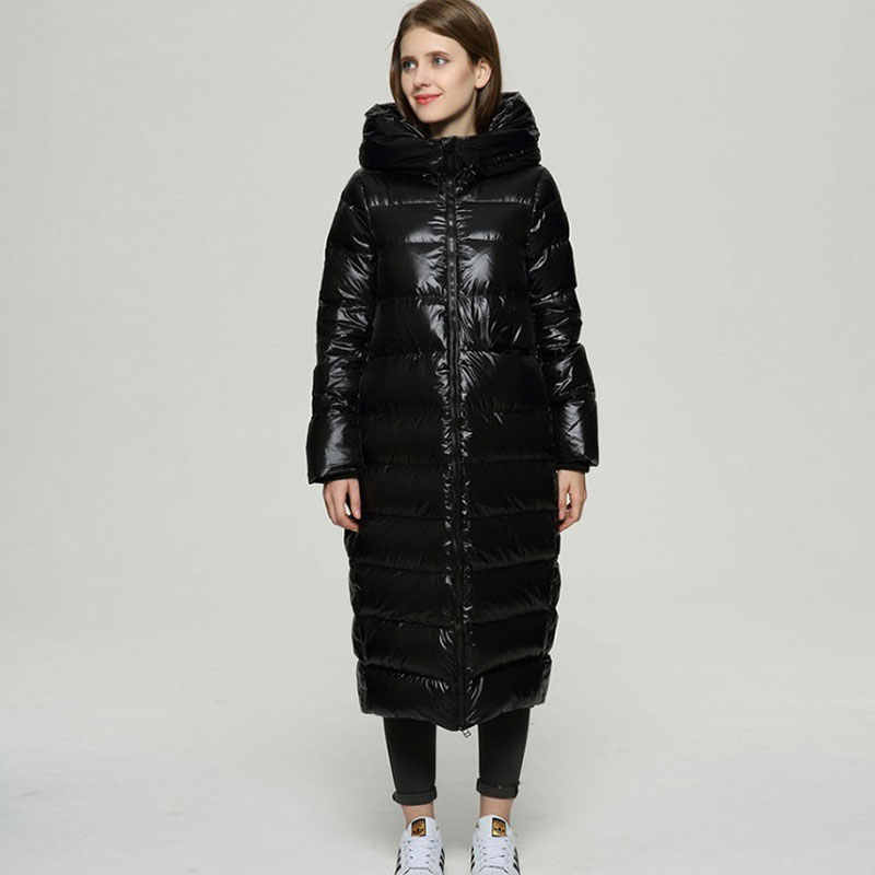 Зимнее длинное пуховое пальто, женские куртки 2019, хипстерские черные блестящие плотные свободные пальто, белая пуховая куртка Hiver, теплая парка HS619