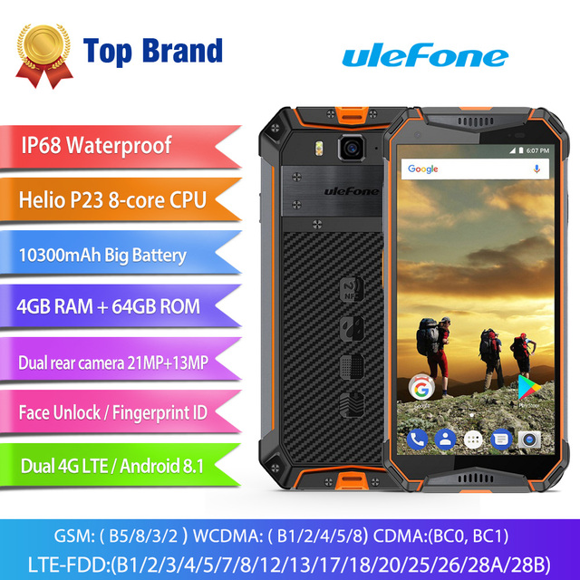 Ulefone Armor 3 4G IP68 Waterproof Mobile Phone Android 8.1 4GB+64GB Octa Core MT6763T NFC Face ID Global Version Cell Phone