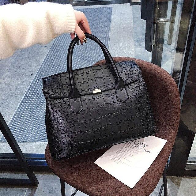 2019 New Female Handbag Cayman PU Leather Women Shoulder Bag Big Luxury Brand Summer Ladies Large Capacity Casual Totes Hand bag