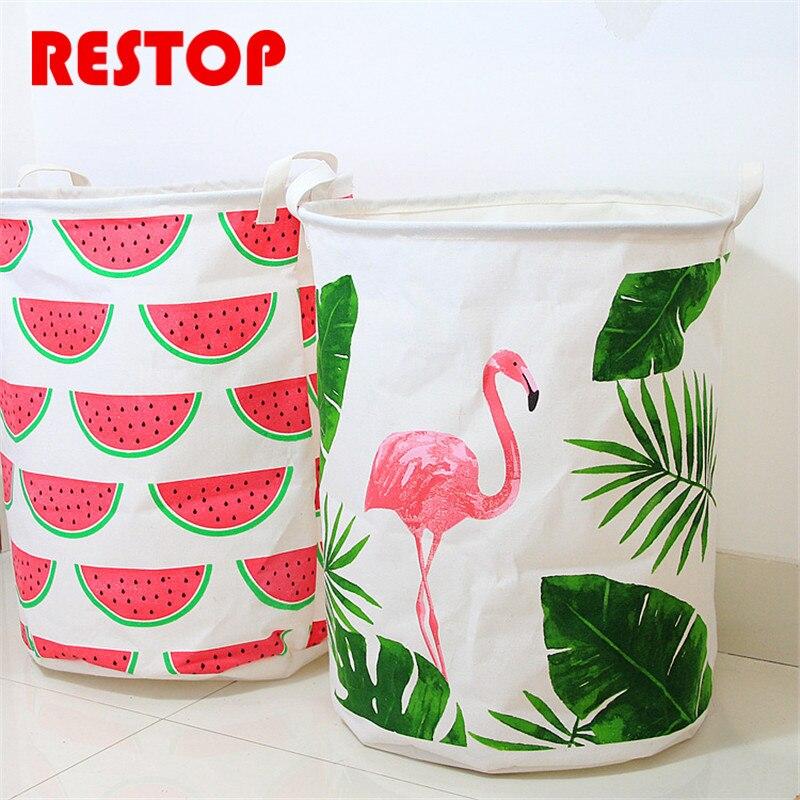 2018 Flamingo Laundry Basket Canvas Washing Laundry Bag Hamper Storage Dirty Clothing Bags Toy Storage Bag RES991