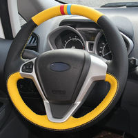 leather hand Top Leather Steering Wheel Hand-stitch on Wrap Cover For Ford Fiesta 08-13 Ecosport 13-16 (3)
