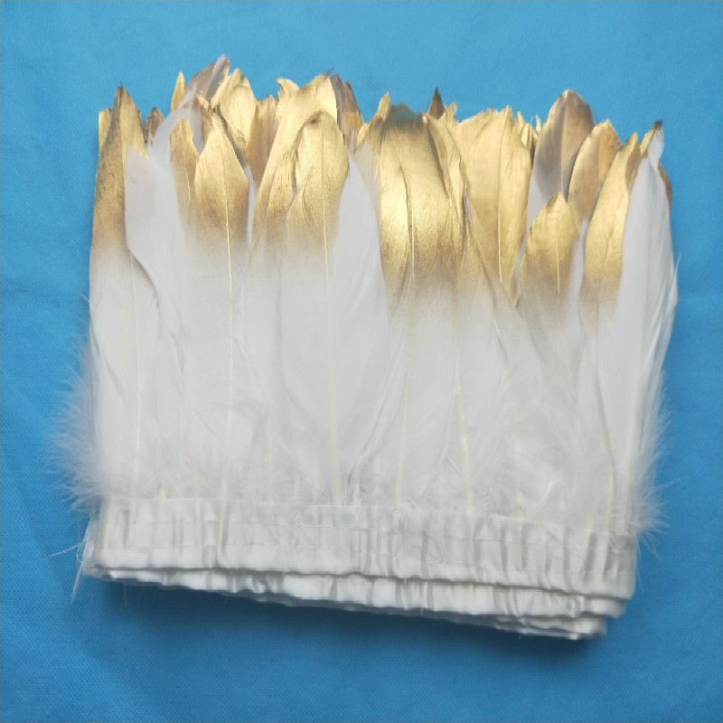 2yard/lot gold paint spray goose feather fringes 15-20cm White with gold tips goose feather trims 2y/pc