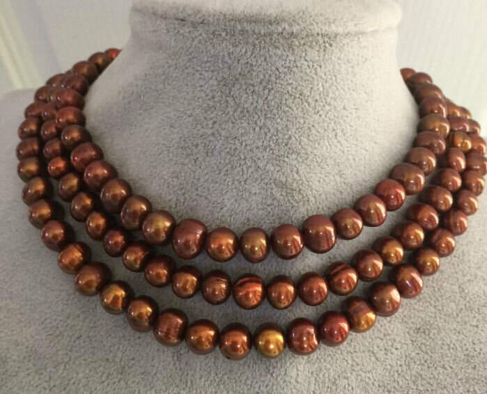 3 strands 9-10mm south sea baroque chocolate pearl necklace 1820 sea page 3 page 9