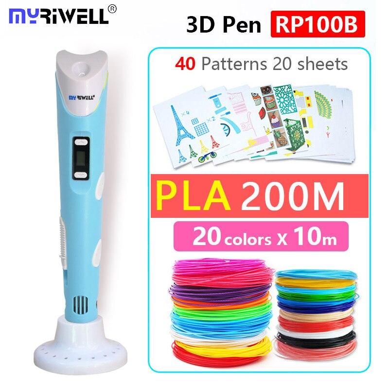 Myriwell 3d pluma añadir 200 m PLA diámetro 1,75mm seguridad filamento inteligente niño regalo de cumpleaños regalos de navidad Año nuevo regalo