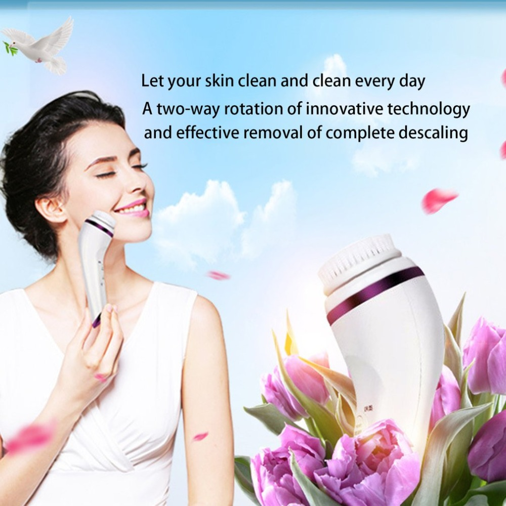 Mini Portable Ultrasonic Electric Cleansing Instrument Rechargeable Waterproof Facial Brush Beauty Tool Great Gift new 3 in1 multifunctional facial cleaning tools usb rechargeable electric rotating facial cleansing brush cleaners scrubber