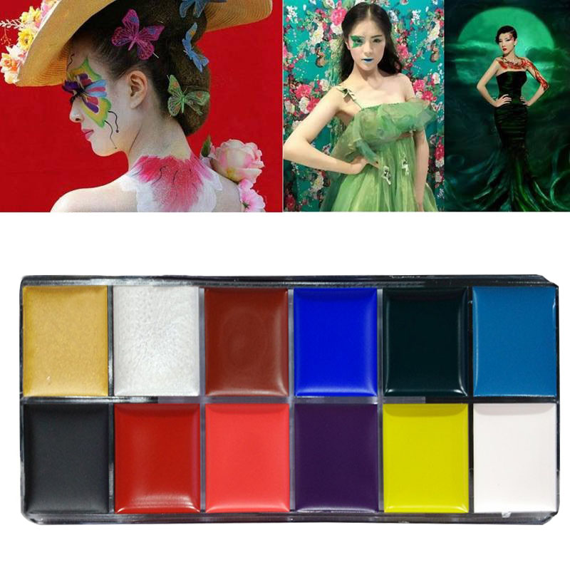 Face Body Paint Oil Painting Art Make Up Halloween Party Fancy Dress 12 Flash Tattoo Color ...