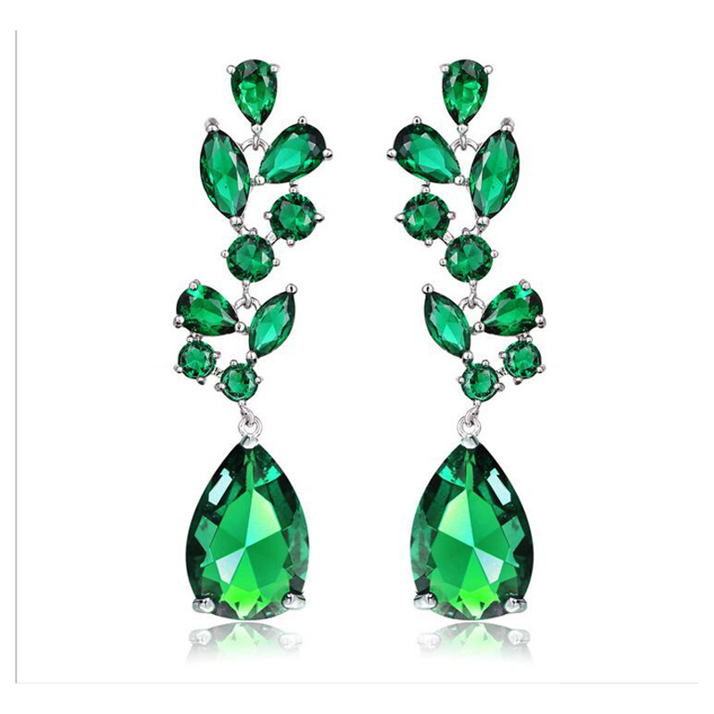 ORNAPEADIA jewelry AAA grade zircon wedding party earring Spring colours luxury engagement long earrings