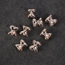 14mm 50pcs/bag ABS with Gold Plated Beads Bow Big Hole Headbands Supplies Bowknot DIY Hair Jewelry Making Accessories