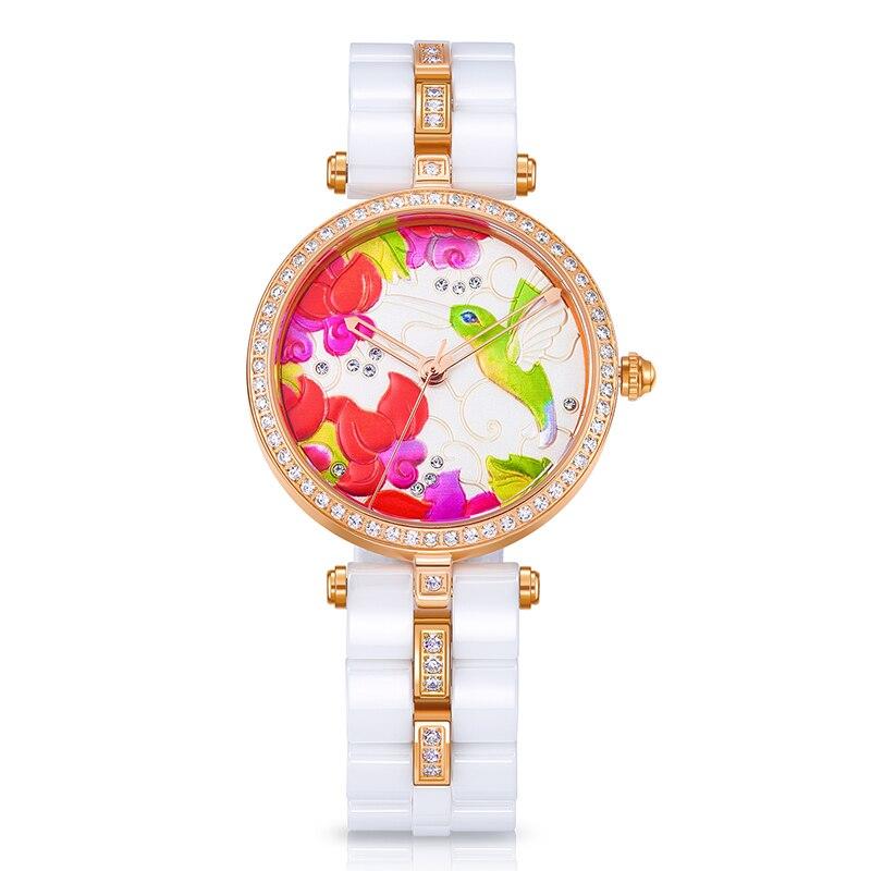 TIME100 Unique Ceramic Women's Watches Three-Dimensional Hummingbird Pattern Ladies Quartz Watches Relogio Feminino Clock