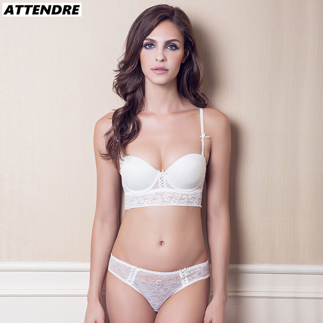 45ddd49ebc706 ATTENDRE French Style 1 2 Cup Bra and Panty Set Lace Wedding Dress Push up  Bras Women Underwear
