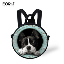 FORUDESIGNS/рюкзак с 3D принтом французского бульдога для девочек и мальчиков с милой собачкой, Детский круглый рюкзак для детского сада, мини-сумки, повседневная сумка Mochila Infantil