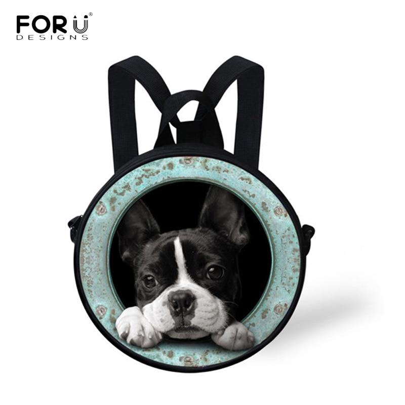 Ausdauernd Forudesigns 3d Französisch Bulldog Druck Rucksack Für Mädchen Jungen Nette Hund Kinder Runde Kindergarten Mini Taschen Casual Mochila Infantil Heller Glanz