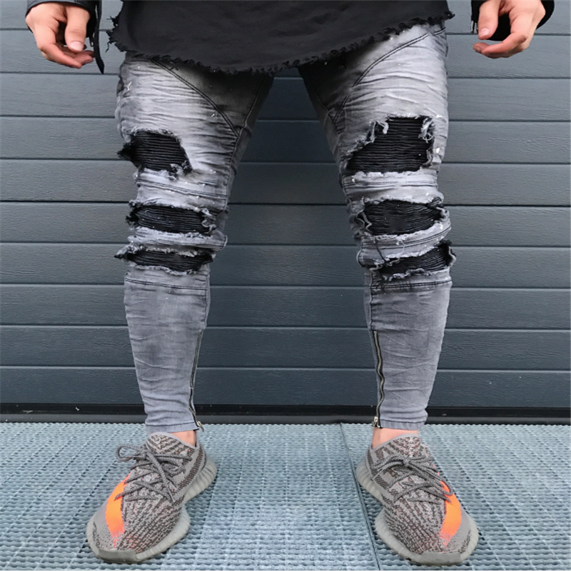 Wholesale 2019 Fashion New men's motorcycle knee hole   jeans   zipper torn   jeans   denim high street hip hop biker pencil pants men