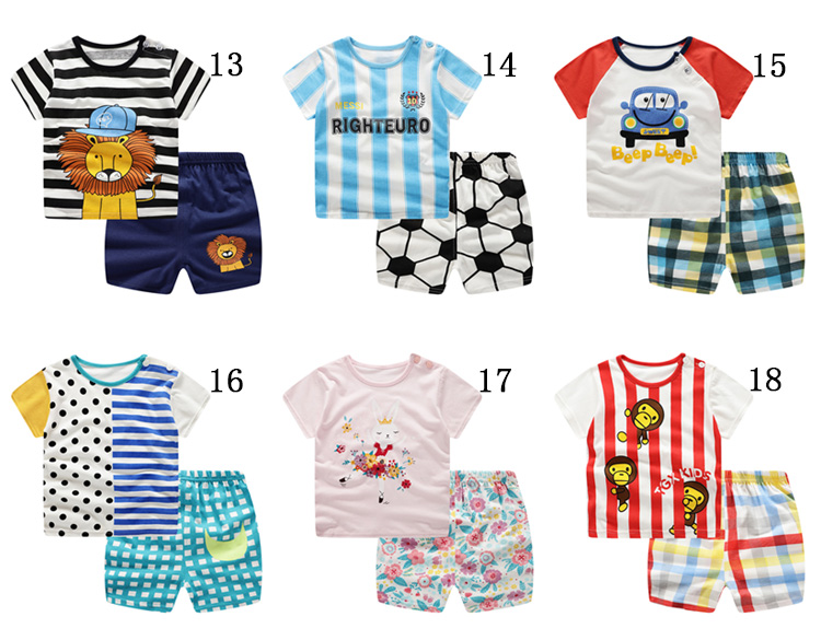 2019 New summer baby costume fashion cartoon print baby boys & girls clothes sets cotton 0-2Y clothing sets for baby boys girls
