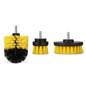 Image 2 - Perceuse électrique de nettoyage, pour cuir et plastique, intérieur de voiture, brosse de nettoyage, 3 pièces, 2/3, 5/4 pouces