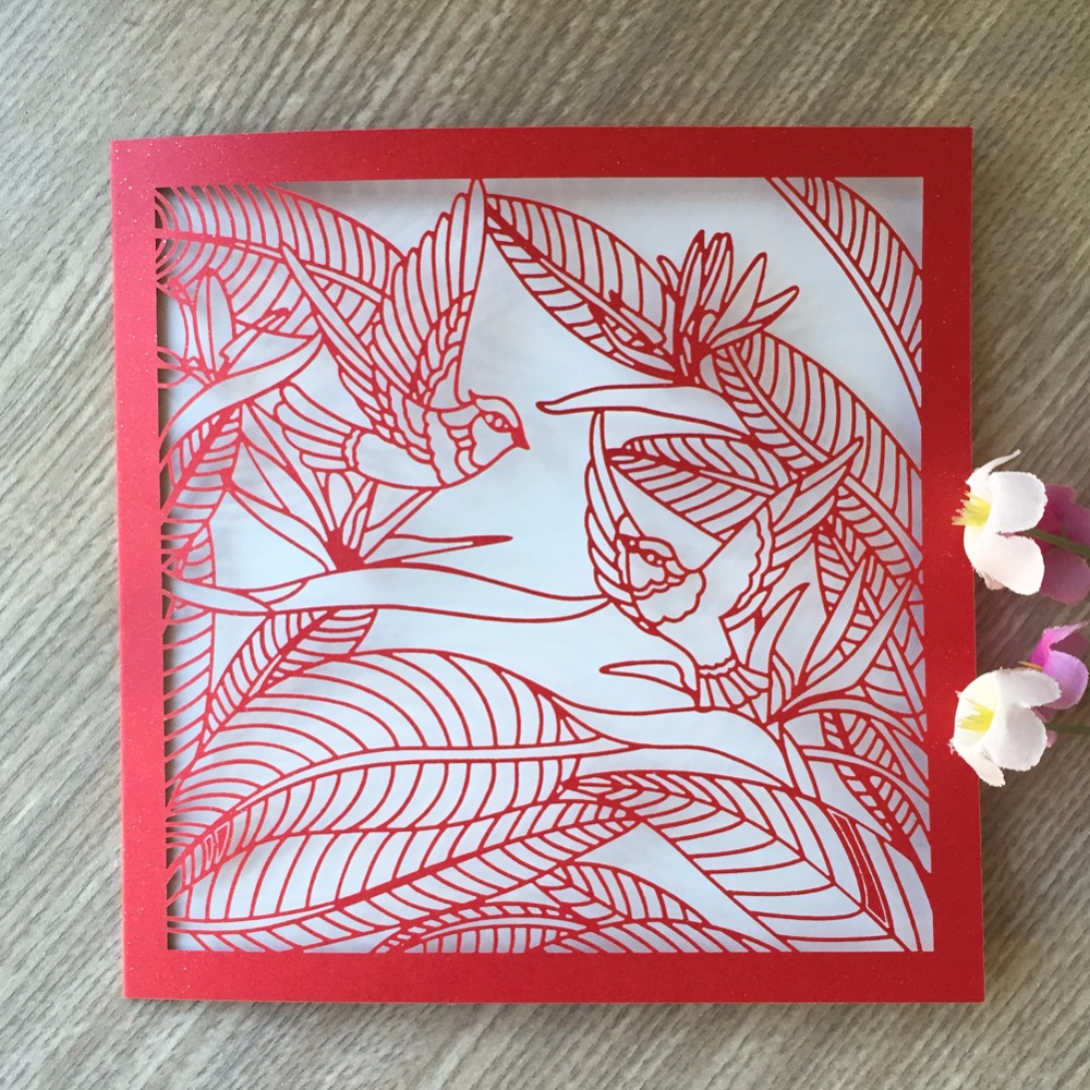 Us 31 0 50pcs Lot Chinese Red Color Lovely Brid Design Hot Sale Shinny Wedding Invitation Card Laser Cut Romantic Wedding Card In Cards