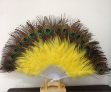 1pcs Beautiful Natural Peacock Dance Performance Classic Feather Fan Christmas Halloween Decoration Costume Props