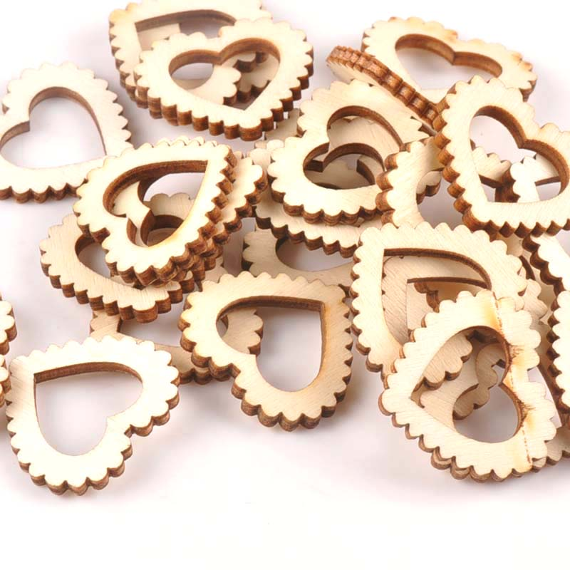 25Pcs Unfinished Wood Slices Wedding Party Baby Shower DIY Crafts Scrapbooking Heart Wooden Ornament Handmade Home Decor M1744