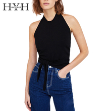 HYH HAOYIHUI 2018 New Arrival Solid Black Halter Sleeveless Crop Top Cami With Waist Tie Elegant Basic Female Short Tank tie front buttoned plunging cami top