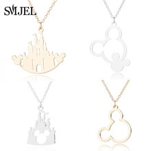 SMJEL Stainless Steel Mickey Castle Necklaces Kids Jewelry Animal Mouse Necklace Minnie Choker Collares Birthday Gift