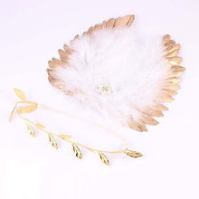 New Arrival 1 Set Baby Infant Newborn Costume Feather Angel Wing Photography Props Headband