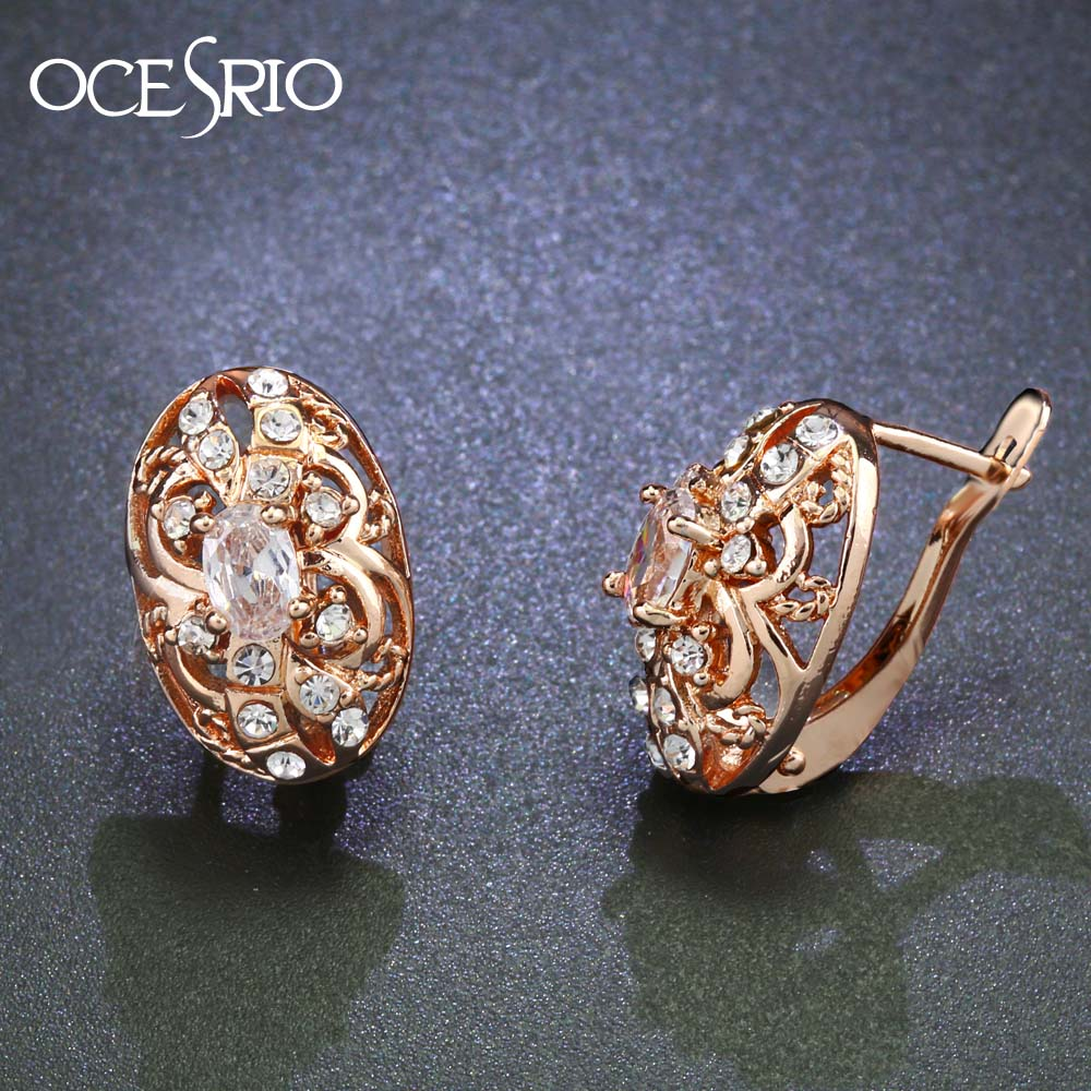 0b2262601 OCESRIO Fashion 2019 Oval Zircon Gold 585 Stud Earrings for Women 585 Rose Gold  Earrings with