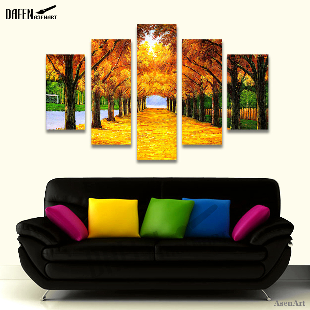 5 Panel Unframed Autumn Golden Fall Maple Leaf Canvas Painting Picture Wall Artwork Pictures For Living Room Modern Home Decor