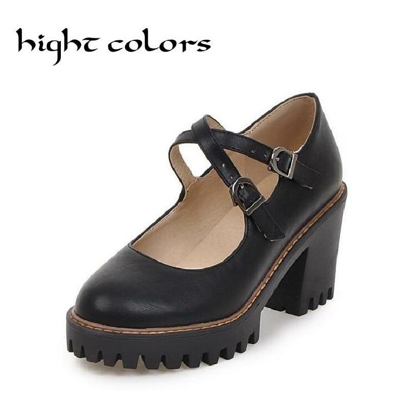 2017 Spring Fashion Vintage Women Thick Heel Shoes Women Pumps Causal Platform Mary Janes Women Shoes High Heels Black Beige schmidt bibl gynaecologica fibrinolytische aktiv nvon endometrium u myometrium dezid etc
