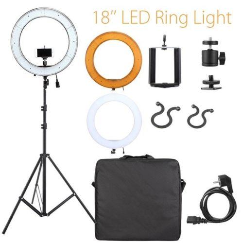 Caméra Photo Studio téléphone vidéo 18 pouces 55 W 240 pièces LED anneau lumière 5500 K photographie Dimmable anneau lampe avec 200 CM trépied