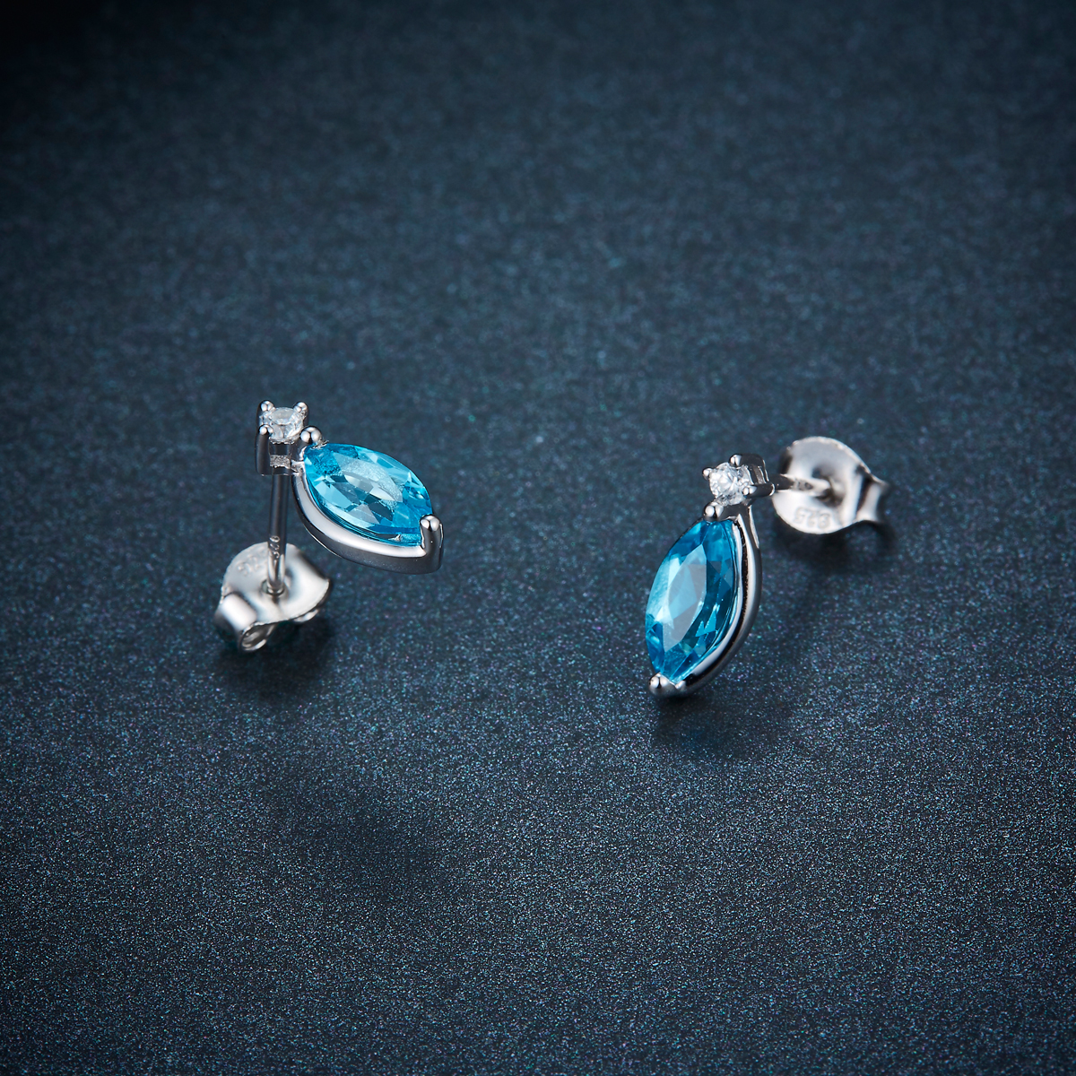 цены Hutang Marquise cut 8x4mm Swiss Blue Topaz Stud Earrings Solid 925 Sterling Silver Gemstone Fine Jewelry Women Girl Gift