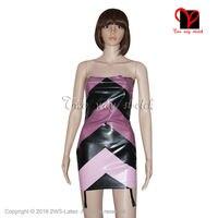 Sexy Latex Dress With garters suspender Rubber Bandeau Bodycon Gummi Strapless Miniskirt Uniform playsuit size XXXL QZ 091