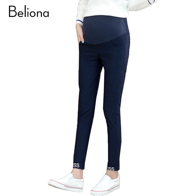Letters Printing Maternity Pants Spring High-waisted Pregnancy Clothes for Pregnant Women Stretch Slim Maternity Clothing