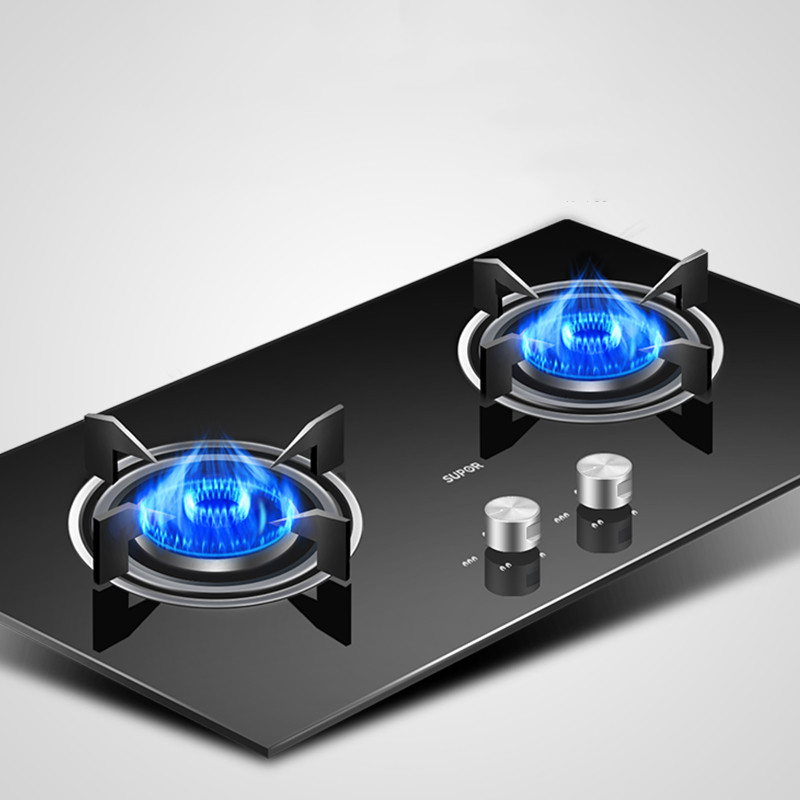 QS505 Built-in Desktop Dual Use Gas Hob Double-stove Embedded Natural Gas Cooktop Liquefied Gas Table Home Ranges Intense Fire