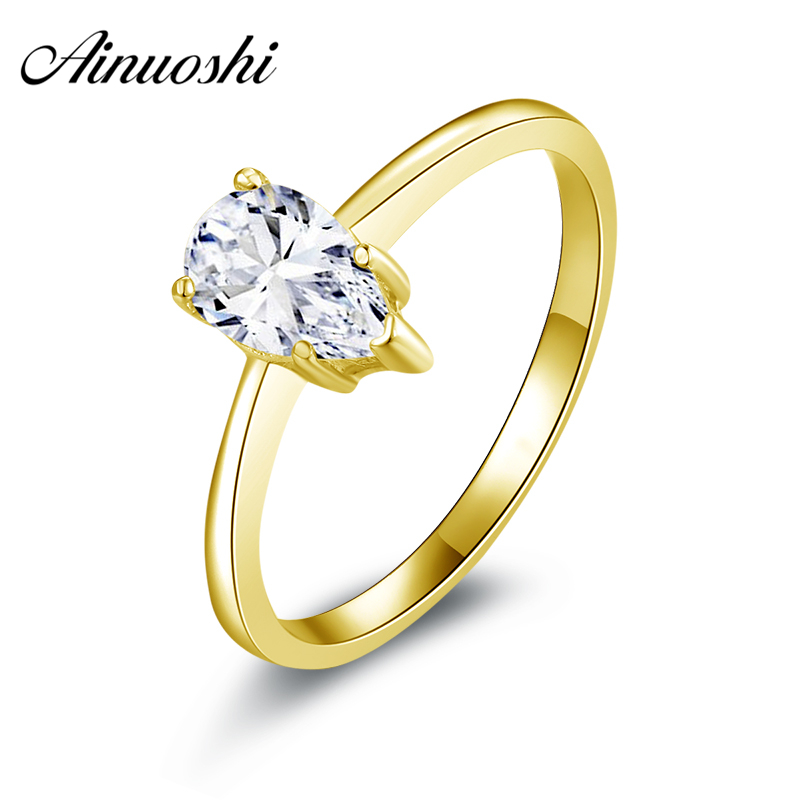 AINUOSHI 10k Solid Yellow Gold Women Engagement Rings Classic Pear Cut Simulted Diamond Anillos 1 ct Solitaire Lady Wedding Ring цена