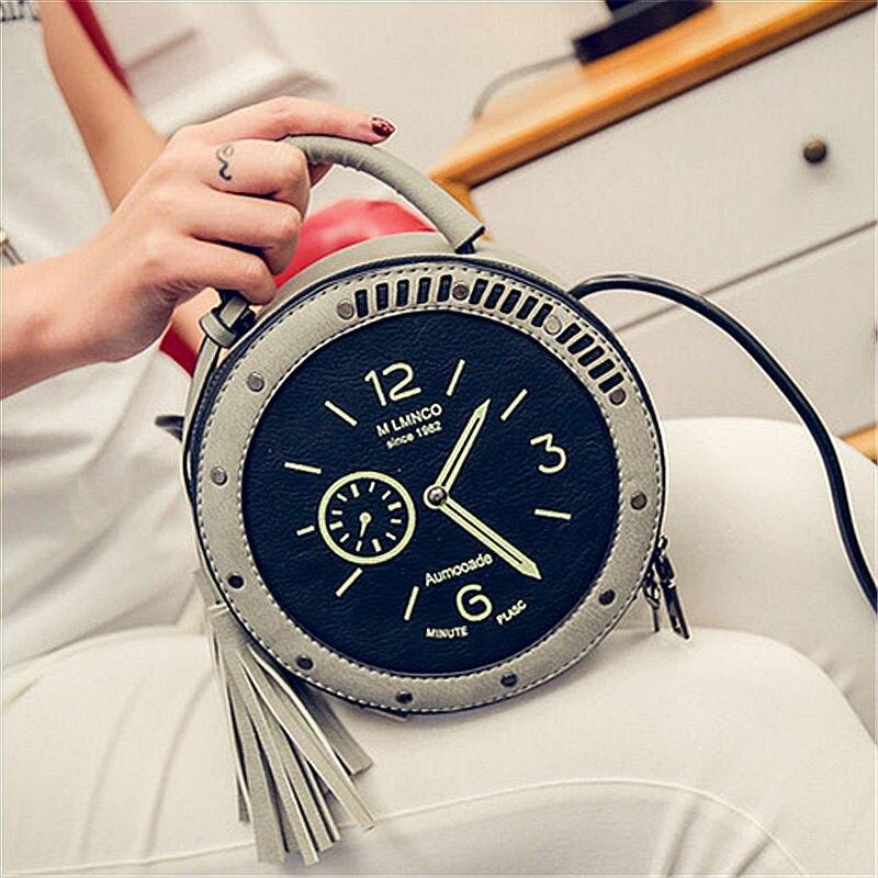Longmiao 2017 Для женщин круг сумка женский кожаный круглый часы Форма сумки Часы Ленточки сумка для Обувь для девочек