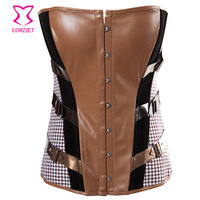 Brown Leather Corsets And Bustiers Vintage Burlesque Clothing Gothic Steampunk Corset Sexy Corpetes Corseletes Korsett For Women