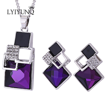 Brand Square Geometry Pandent Necklace Stud Earrings Crystal Magic Space Jewelry Set 3