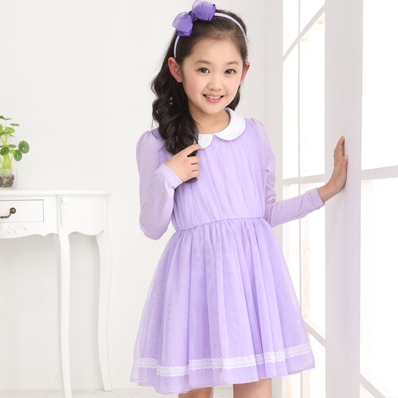 a30818b69c81 2014 new girls Korean version solid long sleeved dress princess dress for 4  5 6 7 8 9 10 11 12 13 14 years old girl-in Dresses from Mother   Kids on ...