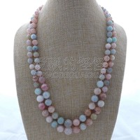 N122208 22'' 2 Stands Multi Color Round Graduated Morganite Necklace