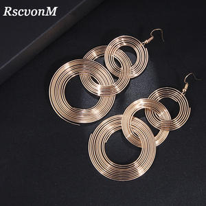 RscvonM Punk Gold Colour Big Geometric 3 Circle Metal Long Dangle Earrings For Women Bohemian Party Exaggerated Fashion Jewelry