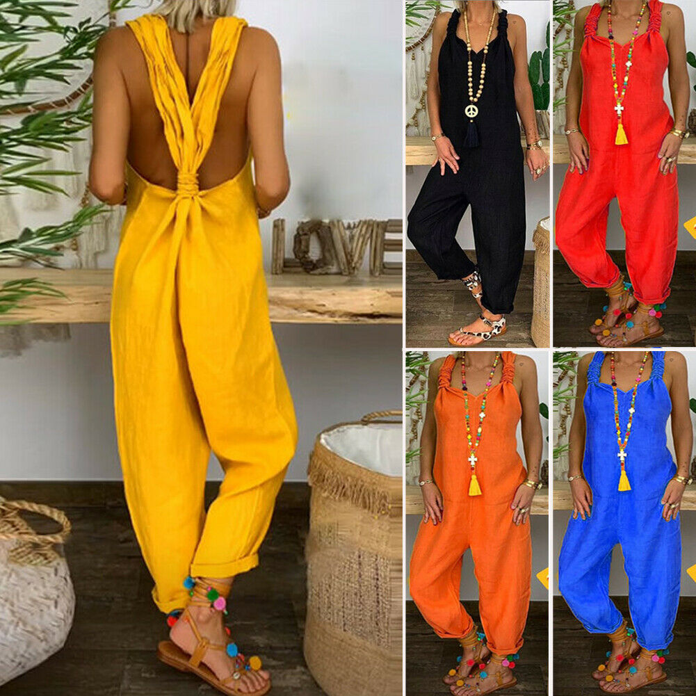 2019 Casual Women's Sleeveless Cotton Linen Loose Wide Leg Jumpsuit Casual Sling Jumpsuit Solid Sleeveless Backless Romper M-3XL