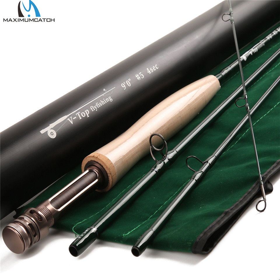 Maximumcatch V-top 40 t + 46 t In Fibra di Carbonio Mosca Canna Da Pesca 9ft 5/6/8 peso 4 Sezione con Tubo di Carbonio Canna Da Mosca