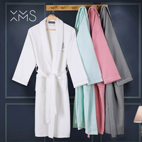 XMS 100% хлопок вафельный Халат для мужчин махровый халат с поясом Ночная рубашка кимоно пижамы длинные мягкие домашний