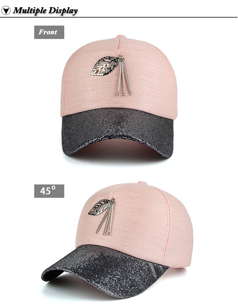 Dangling Leaf Snapback Cap - Pink Cap Front and Front Angle Views