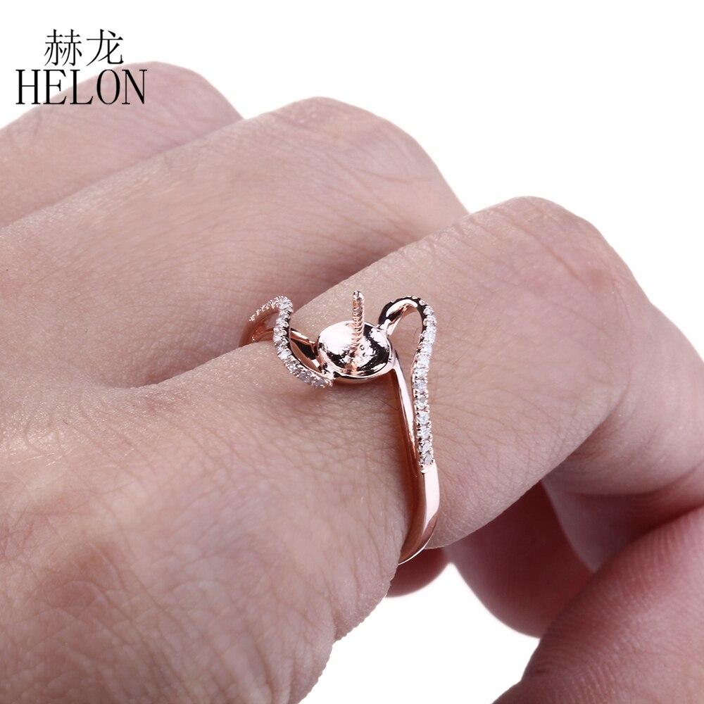 HELON 8.5 10.75mm Round Pearl Semi Mount Wedding Anniversay Diamonds ...