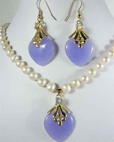 "charm 7-8mm white pearl necklace 17""& purple heart jades earring pendant"