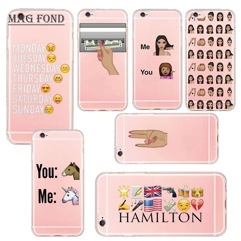 Kim Kardashian Crying Emoji Case for iPhone 6 6s 5 5s SE 6 Plus 7 Ultra Soft TPU Clear Transparent Funny Silicone Case Fundas