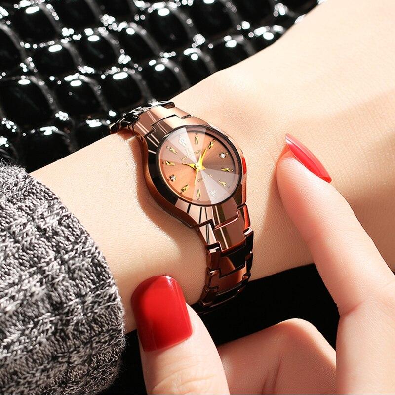 Watch Women Tungsten Watch Slim Rose Gold Luxury Brand Ladies Bracelet Watch
