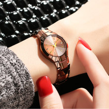 Watch Women Tungsten Watch Slim Rose Gold Luxury Brand Ladies Bracelet Watch(China)