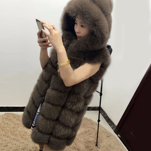 2017 real natural fox fur vest women's with a hood outerwear medium-long sweater vests waistcoat winter fashion thick warm coat